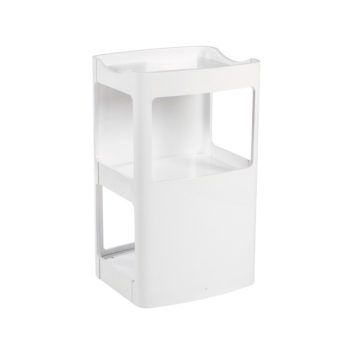 Meuble blanc laqué, design contemporain sur roulettes avec 3 étagères