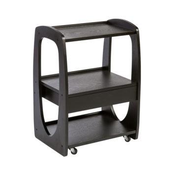 Meuble à roulettes avec 3 étagères et 1 tiroir de rangement en bois noir