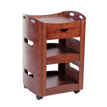 Chariot à roulettes en bois vernis couleur acajou, 3 niveaux et 1 tiroir de rangement