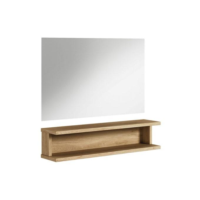 coiffeuse bois naturel avec grand miroir et éclairage led