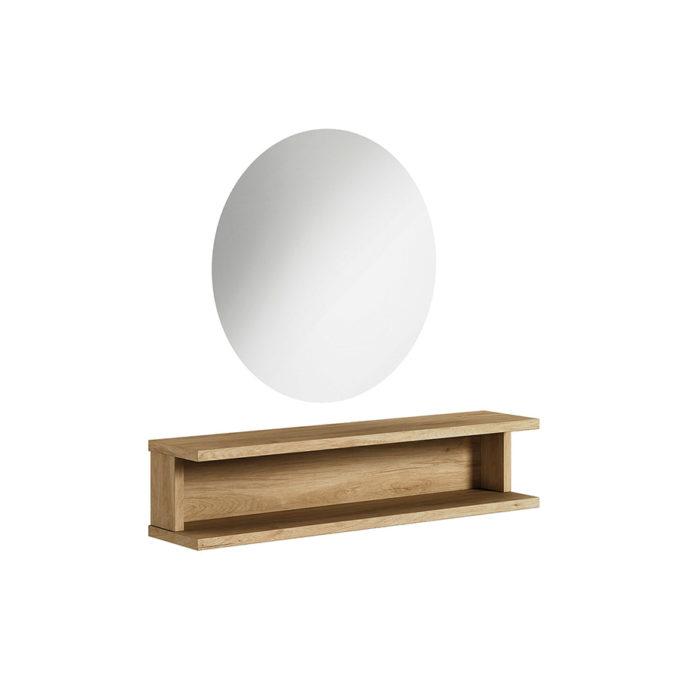 poste de coiffure bois clair graphite miroir rond avec miroir et éclairage LED