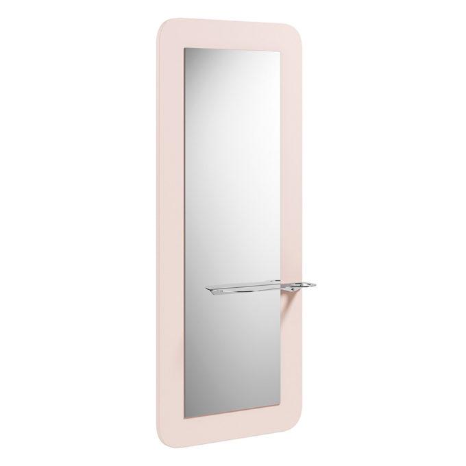 coiffeuse avec grand miroir et tablette, bords arrondis couleur rose