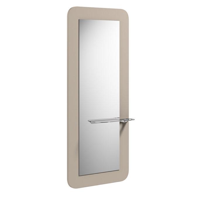 coiffeuse avec grand miroir et tablette, bords arrondis couleur sable