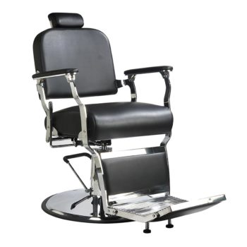 Fauteuil coiffure barbier en skaï noir avec structure chromée et robuste, réglable et inclinable