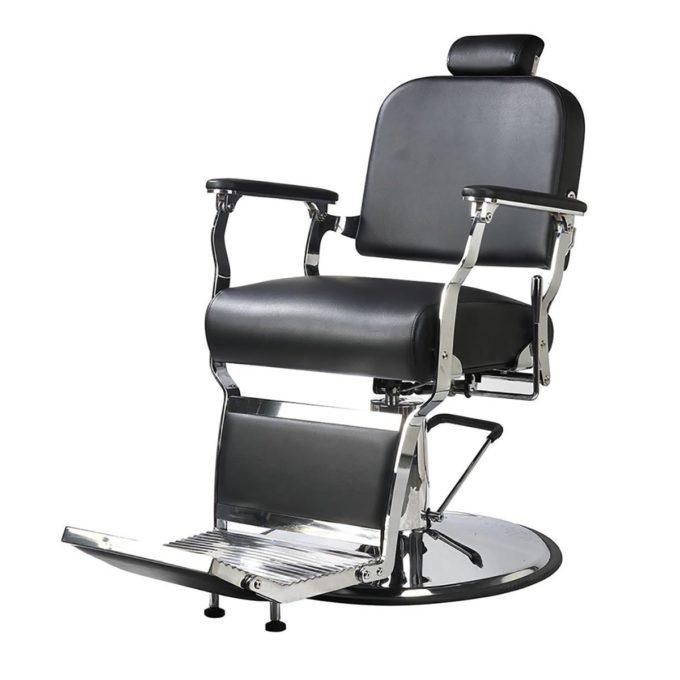 fauteuil barbier noir et chromé facile à nettoyer