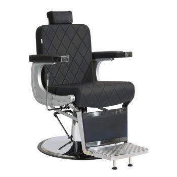 Fauteuil de barbier finition chrome avec habillage en pvc noir mate et formes de losanges