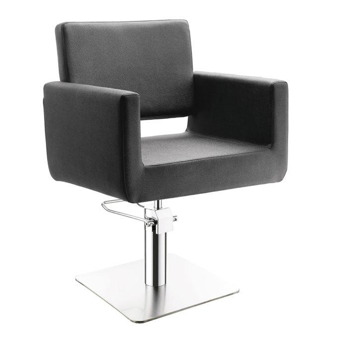 fauteuil de coiffure forme carré avec pied en métal