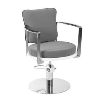 Chaise de coiffure gris avec finition chromé original