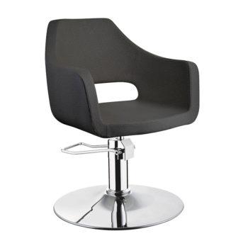 Chaise de coiffure noir avec grand accoudoir et une forme enveloppante, assise confortable
