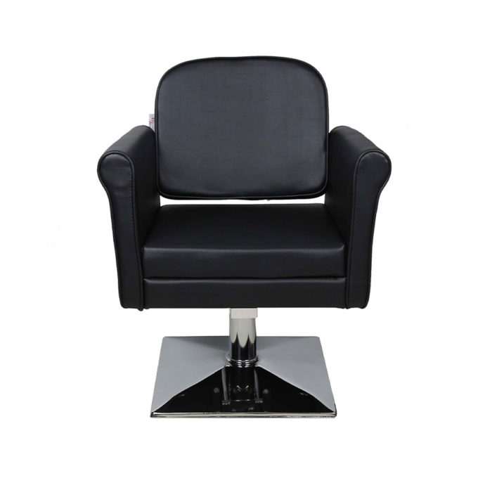 fauteuil de coiffeur large noir avec pied carré