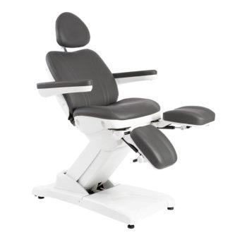 fauteuil esthétique noir avec repose-pieds dissociés
