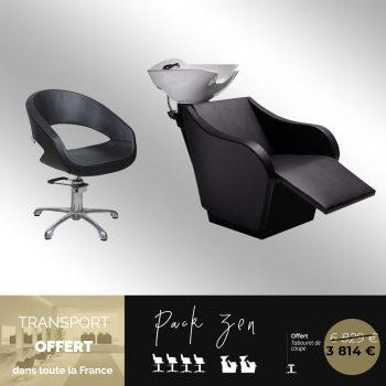 lot de fauteuils et bac de lavages pour salon de coiffure