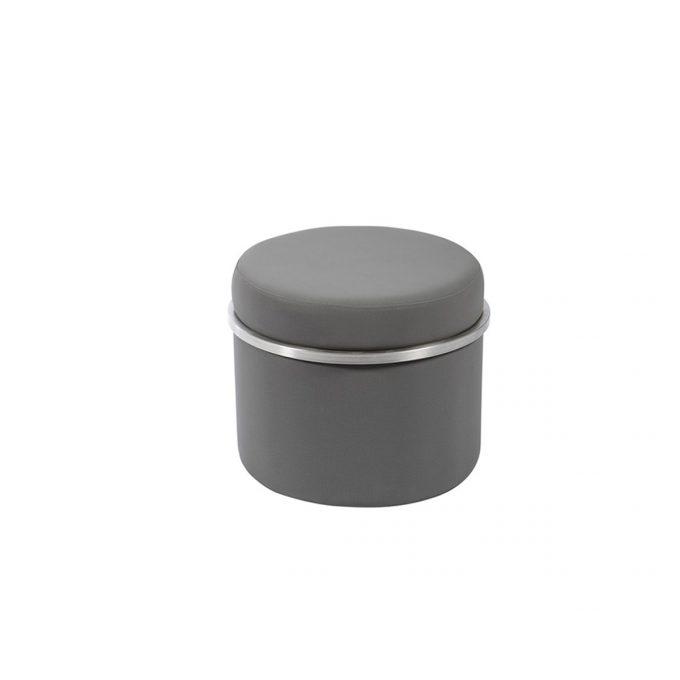 tabouret d'attente rond en similicuir noir et contour en métal