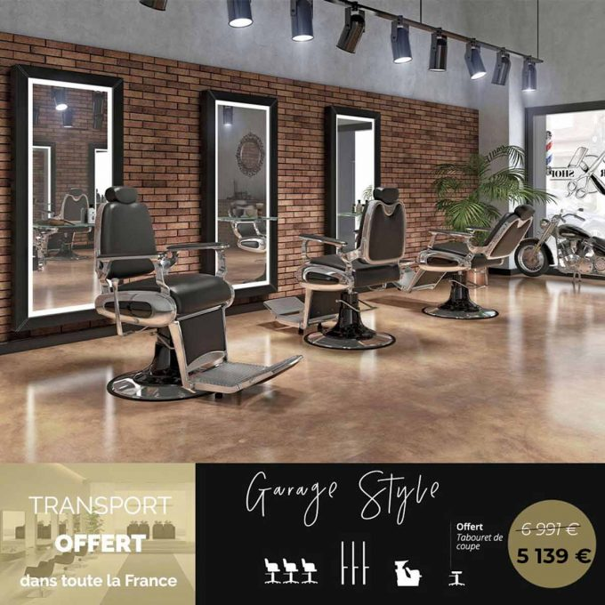 Salon coiffure barbier pack complet moderne et ancien, style rock.