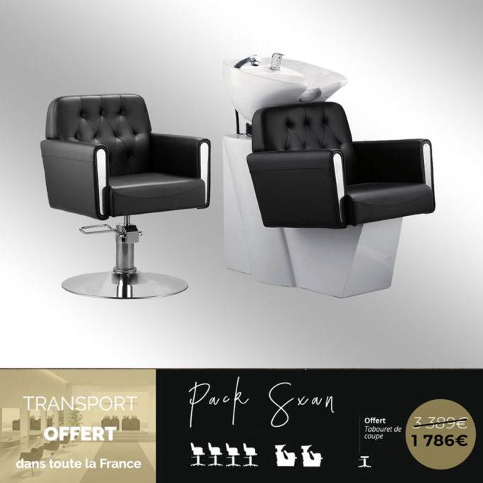 ensemble de fauteuils et bacs de lavage pour salon de coiffure au style élégant et années 70