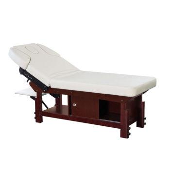 Table de massage avec matelas de 10 cm et coffre de rangement en bois foncé