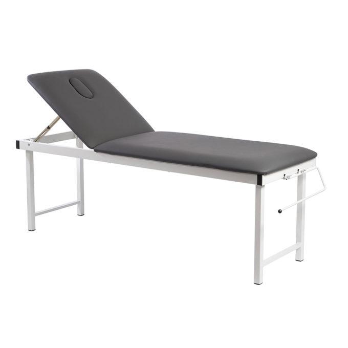 Table de massage noire avec dossier réglable et pliante pour le transport