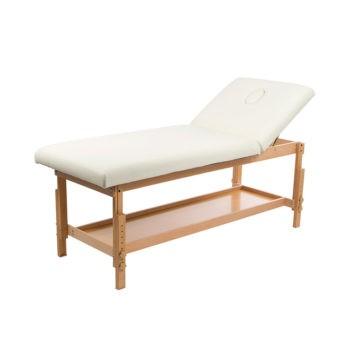 Lit de massage en bois vernis avec étagère et matelas épais confortable