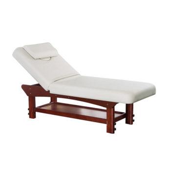 Lit de massage en bois massif et vernis avec matelas blanc 10 cm d'épaisseur et coussin
