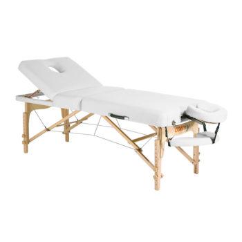 Lit de massage pliant en bois d'hêtre avec matelas épais blanc