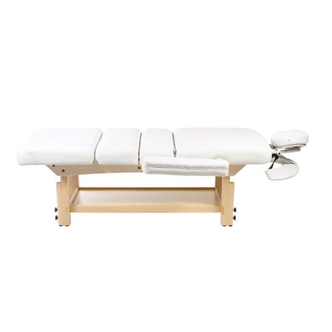 Lit de massage Unuk blanc avec structure en bois et matelas épais