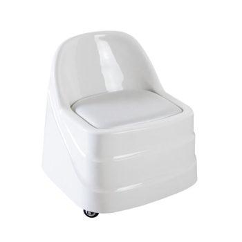 tabouret pédicure en plastique avec assise en mousse et dossier