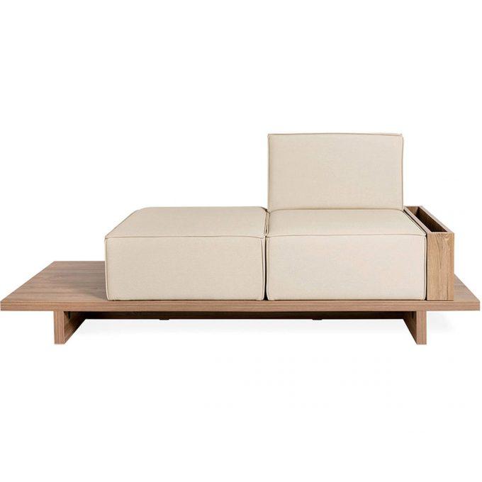 banc d'attente en bois avec assise en mousse épaisse et similicuir un dossier, 2 places