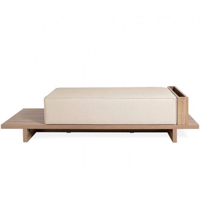 banc d'attente en bois avec assise en mousse épaisse et similicuir, 2 places