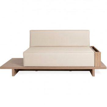 banc d'attente en bois avec assise en mousse épaisse et similicuir dossier complet, 2 places