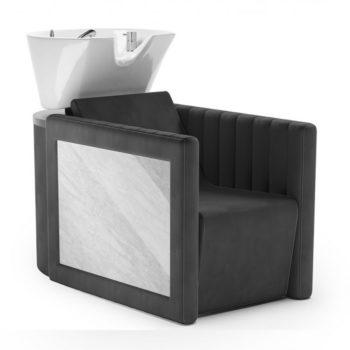 Bac à shampoing effet marbre avec revêtement en similicuir noir, assise confortable et vasque basculante blanche
