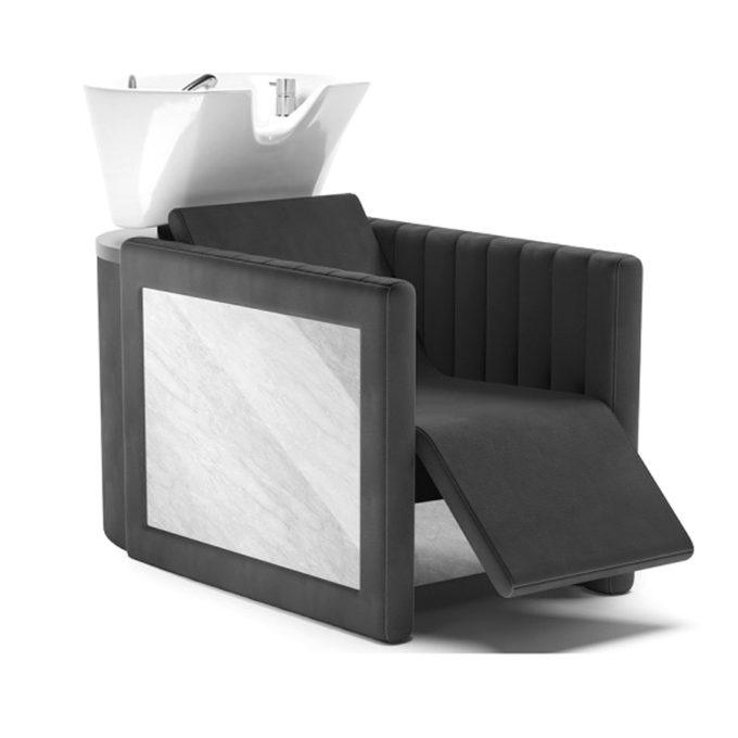 Bac à shampoing noir avec finitions effet marbre, avec repose-jambes électrique et vasque blanche en céramique