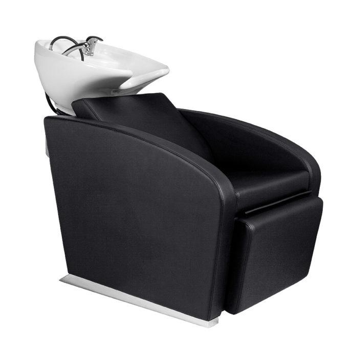 Bac à shampoing noir et pieds métal, repose jambes électrique