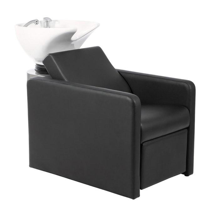 bac de lavage classique noir vasque blanche