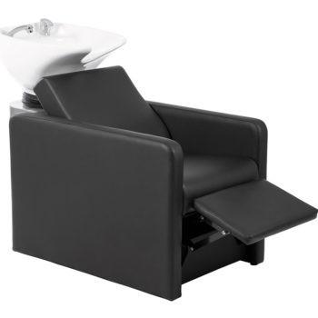 Bac à shampoing noir avec relax et vasque inclinable