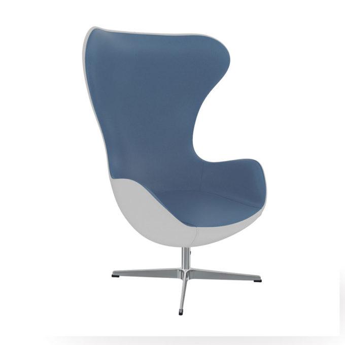 fauteuil d'attente bleu et blanc style sixties