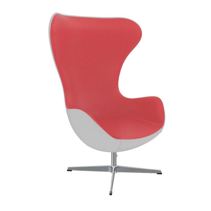fauteuil d'attente rouge et blanc style sixties