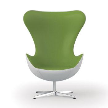 fauteuil d'attente vert et blanc style années 60