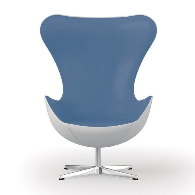 fauteuil d'attente bleu et blanc style années 60