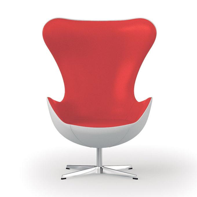 fauteuil d'attente rouge et blanc style années 60