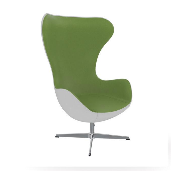 fauteuil d'attente vert et blanc style sixties