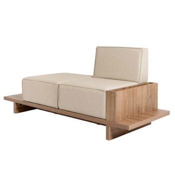 Fauteuil banquette deux places bois et matelas confortable
