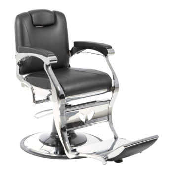 fauteuil de barbier noir et chromé effet vintage