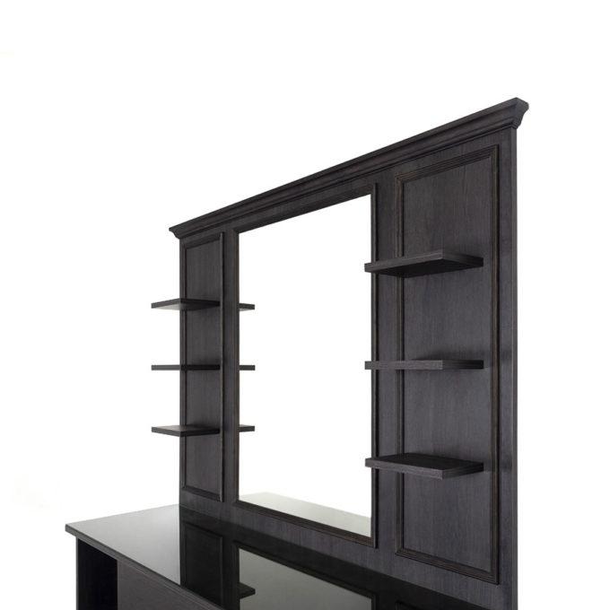 meuble de barbier avec étagère et plan de travail en verre