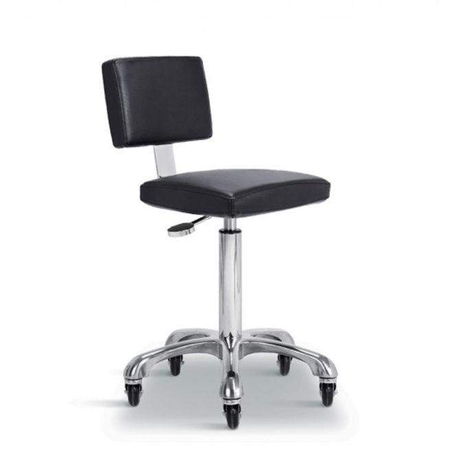 tabouret de coiffeur ou esthétique avec assise et dossier en mousse épaisse noir réglable en hauteur