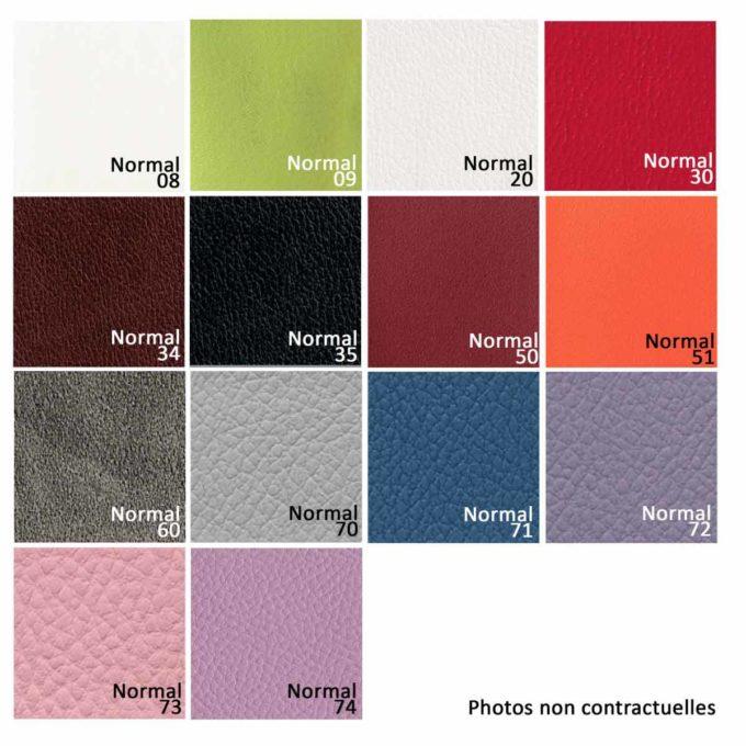Finitions en similicuir, 14 textures de couleurs aux choix pour bacs et fauteuils de coiffure