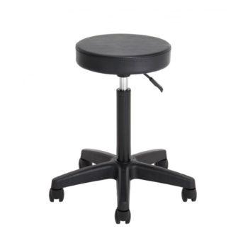 Tabouret de salon de coiffure avec roulettes en silicone, noir, assise ronde en skai résistant au feu