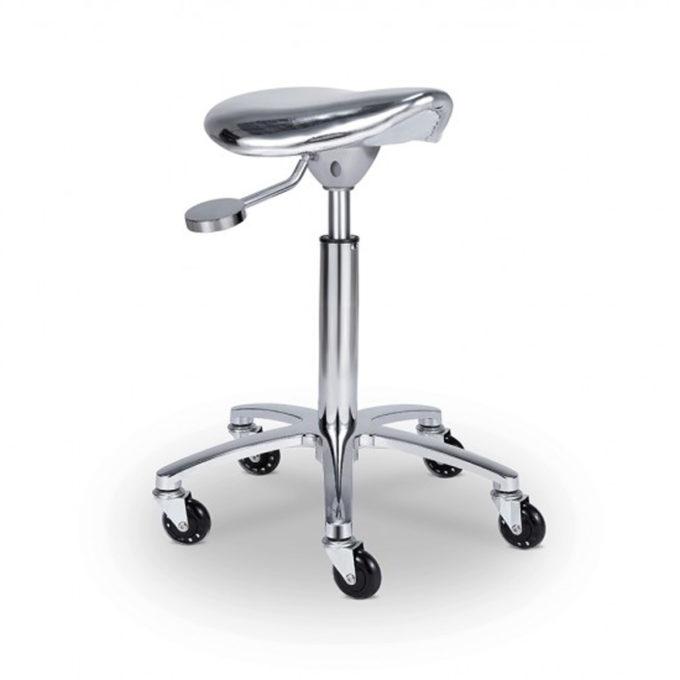 Tabouret de coiffure assise ergonomique gris argent avec roulette et réglage hauteur