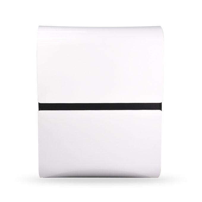caisse d'accueil futuriste en aluminium blanc et bois stratifié noir