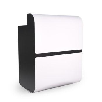 meuble caisse et comptoir de réception bois noir et panneau frontal blanc brillant moderne et futuriste