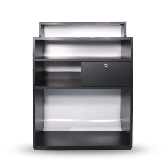 meuble caisse noir et blanc avec tiroir, étagères et passe câbles